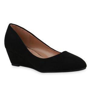 Mytrendshoe Damen Pumps Keilpumps Spitze Klassische Keilabsatz Schuhe 835042, Farbe: Schwarz, Größe: 39