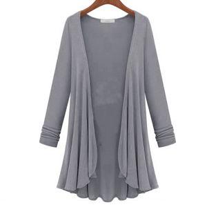 Damen Herbst Strickjacke langer Herbst Pullover Freizeitjacke,Farbe: Grau,Größe:2XL