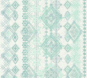 A.S. Création Vliestapete Boho Love Tapete blau grün grau 10,05 m x 0,53 m 364661 36466-1