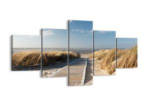 "Leinwandbild - 125x70 cm - ""Hinter der Düne, im Rascheln des Grases""- Wandbilder - Meer Strand Düne - Arttor - EA125x70-2657"