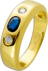 Antiker Saphir Brillant Ring 70er Jahren blauen Saphir Gelbgold 585 weißen Brillanten 0,10 Carat T