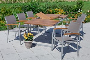 Merxx 7tlg. Naxos Set - 6 Stapelsessel, 1 Ausziehtisch - Farbe: silber/ braun -  Maße: Sessel: 59x59x85 Tisch: 150/200 x90x74 cm; 6x 22000-309 + 1x 22004-219