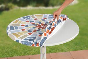 Tischdecke Spanntischdecke abwaschbar Mosaikoptik