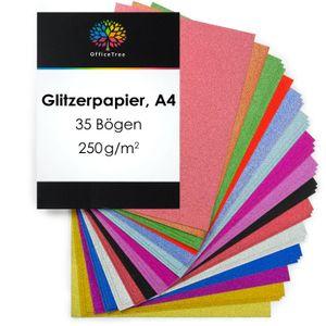 OfficeTree Glitzer Papier A4 - 35 Blätter in 15 Farben mit 250g/m²