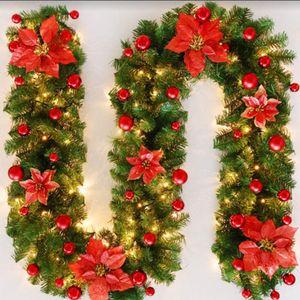 Weihnachtsgirlande mit Beleuchtung Weihnachtsdekoration 270cm Weihnachtsgirlande beleuchtet LED-Schnur beleuchtet Weihnachtstürdekor Weihnachtsgirlande Tannengirlande Lichterkette (rot)