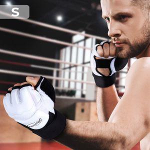 MMA Handschuhe | Handgelenkschutz, atmungsaktiv, Rutschfest, Größe: S, Schwarz-Weiß | Halbfinger Fitnesshandschuhe, Kraftsport, Crossfit, Fitness, Taekwondo, Bodybuilding