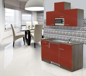 respekta Miniküche Küche Küchenzeile Single Küchenblock 150 cm Eiche York rot