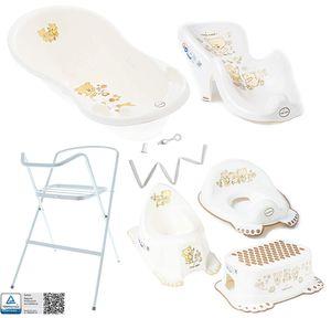 Tega Baby ® Baby Badewanne mit Gestell und Verschiedene Sets mit Babybadewannen + Ständer + Abfluss + Badewannensitz 0-12 Monate, Motiv:Bärchen - weiß, Set:7 Set Weiß