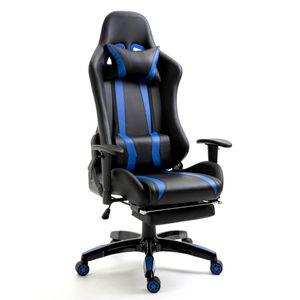 SVITA Gaming Stuhl Bürostuhl Schreibtischstuhl Drehstuhl Fußablage schwarz blau