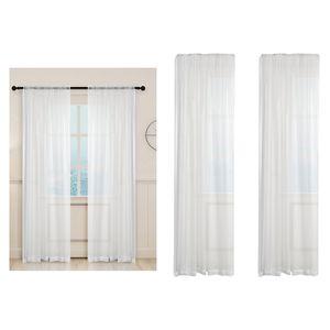 2xNet Voile Gardinen Fenster Vorhang Panel Für Balkon Schlafzimmer Weiß 100x200cm