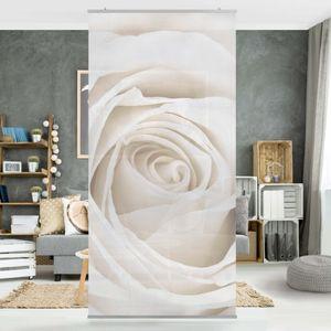 Rosenbild Raumteiler - Pretty White Rose - Blumen Raumtrenner - 250x120cm, Aufhängung:inkl. transparenter Halterung