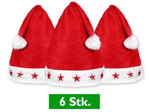 6 Stück Weihnachtsmützen Rot mit Leuchtsterne
