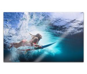 Acrylglasbilder 80x50cm Sport Surfer Surfbrett Frau Ozean Welle Übung Meer Acryl Bilder Acrylbild Acrylglas Wand Bild 14H2183