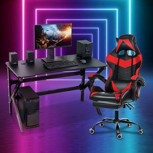 CAMTOA Computertisch Gaming Tisck mit LED-Beleuchtung + Gaming Sthul Bürostuhl Drehstuhl Chefsessel mit Fußstütze Set