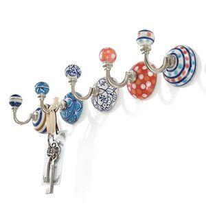 5-tlg. Haken-Set Wandhaken Schlüsselhaken Garderobenhaken Blau/Rot/Weiß