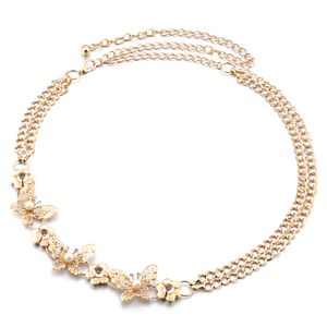 Damenmode Perle Schmetterling Strass Kleid Metall Bauch Taille Kette Gürtel
