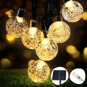 Solar Lichterkette Aussen 50Leds, 8 Meter Solar Lichterkette Außen mit 50 LED Kugel, 8 Lichtmodi/Wasserdicht Warmweiß, Solarbetriebene Lichterkette