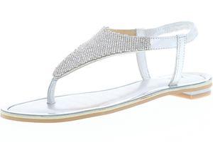 Vista Damen Sandaletten Dianetten Zehentrenner silber, Größe:36, Farbe:Silber