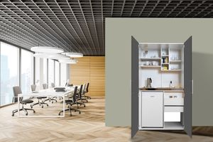 respekta Schrankküche Küche Miniküche Küchenzeile Büro Küchenblock weiß grau