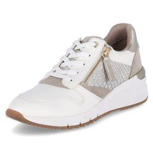 Tamaris Damen Low Sneaker 1-23702-26 Weiß 228 WHT/LT Gold Leder und Textil mit Herausnehmbare Innensohle, Groesse:39 EU
