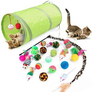 Katzenspielzeugset mit Katzentunnel, 21 Stück Katzenspielzeugset mit Bällen, Federspielzeug, Kätzchenmausspielzeugset, Katzenspielzeug-Sortenpaket