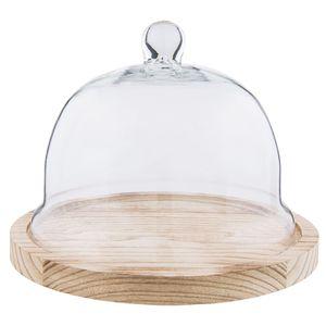 Clayre & Eef Glasglocke 6GL2223 Ø 23*17 cm - Transparent Holz / Glas Glasglocke Deko