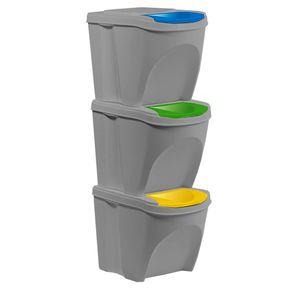 Mülltrennsystem Mülleimer 3x25 Liter Steingrau