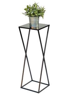 DanDiBo Blumenhocker Metall Schwarz Eckig 68 cm Blumenständer Beistelltisch 437 Blumensäule Modern Pflanzenständer Pflanzenhocker