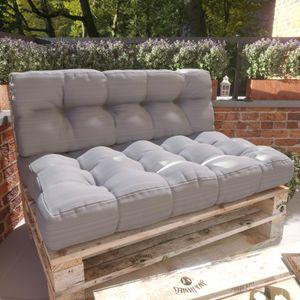 MSS® Relax 2er-Set Sitzkissen & Rückenkissen Palettenkissen in Anthrazit hell - extra straff gefüllte Palettenkissen