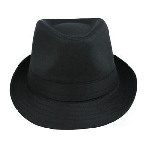 Neue Mode Damen Herren Muetze geschweiften Diskette Brim britischen Jazz Hip-Hop Fedora Hut Cap Unisex schwarz