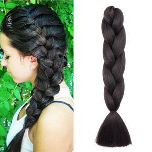 S-noilite Braids Extensions Flechten Hair Extensions Jumbo Crochet Haar Kunsthaar Kanekalon Colorful 1pcs 60 cm-100 g Dunkles Schwarz