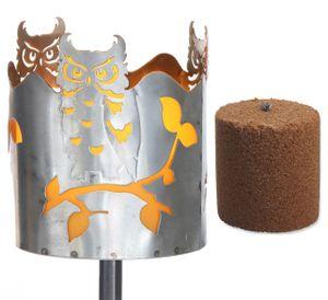 Gartenfackel Eule Feuerschale Metall mit Stiel und Brennmittel