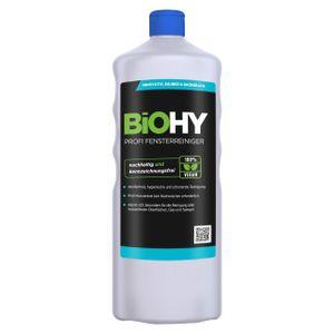 BiOHY Profi Fensterreiniger (1l Flasche) | Glasreiniger Konzentrat, ideal für alle FENSTERSAUGER, Kärcher, Leifheit, etc. | Streifenfreie Reinigung von Glas-, Fenster- & Spiegelflächen