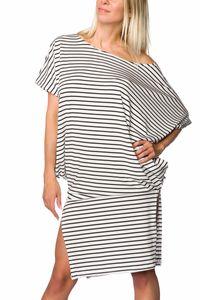 Gestreiftes Oversize-Kleid, Farbe: Schwarz/Weiß, Größe: L