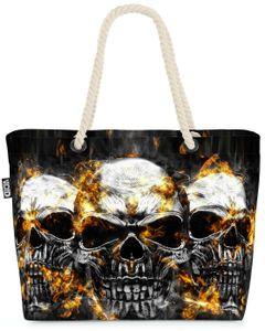 VOID Totenköpfe Hard Rock Strandtasche Shopper 58x38x16cm 23L XXL Einkaufstasche Tasche Reisetasche Beach Bag