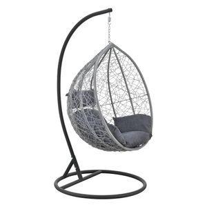 Hängesessel Capileira 1-Sitzer Outdoor Hängestuhl mit Gestell und Kissen Hängekorb bis 150 kg Hellgrau/Dunkelgrau