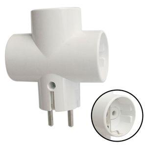 1x Multistecker 3-fach Adapterstecker Mehrfachstecker Steckdose Kinderschutz