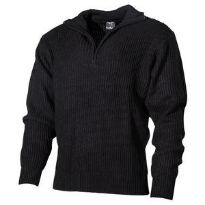 Pullover, Troyer, schwarz, mit Reißverschluß - L