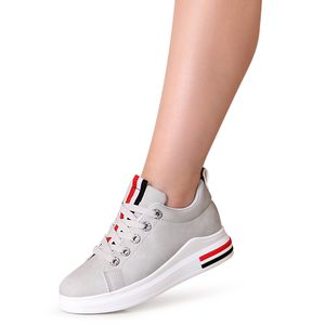 topschuhe24 1869 Damen Keilabsatz Sneaker Turnschuhe, Farbe:Grau, Größe:39 EU