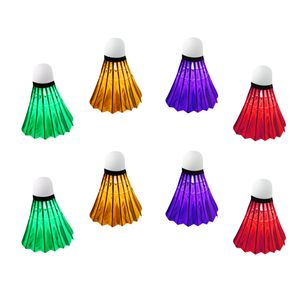8 Stück Bunte LED Badminton Ball Set Leuchtende Federbälle