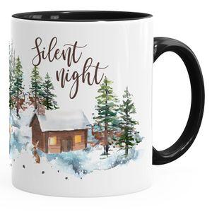 Tasse Weihnachten Winter Schnee Silent Night Christmas Weihnachts-Tase Kaffeetasse Teetasse Keramiktasse Autiga® schwarz unisize
