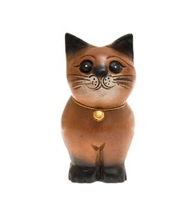 Katze, stehend, Holz, Holzfigur, Deko, Dekoration, Dekofigur, Holzdeko, Skulptur, braun