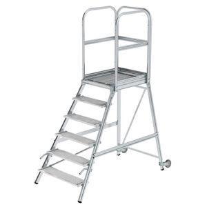 Günzburger Steigtechnik Podesttreppe eins. begehbar mit Rollen und Griffen Stahl-Gitterrost 6 Stufen