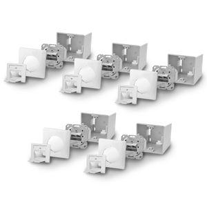 5x ARLI Cat6a Netzwerkdose 2 Port ( Auf + Unterputz )