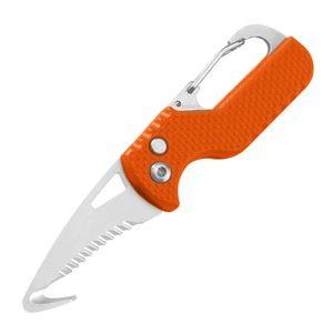 Rettungsmesser in Orange-Silber, Taschenmesser / Notfallmesser mit Gurtschneider und Druckknopf Automatik