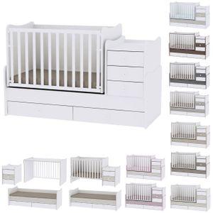 Lorelli Babybett Maxi Plus New Schaukelfunktion Jugendbett Schrank Schreibtisch, Farben:weiß