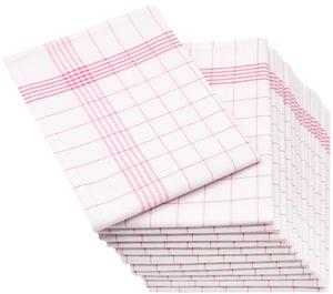12er-Set Geschirrtücher Halbleinen, 50x70 cm, rot-weiß-kariert
