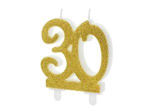 1 XL Geburtstagskerze Tortenkerze 30 Geburtstag ca 10 cm weiß gold