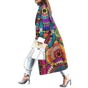 Damen Herbst lockerer Wollmantel Ethno Windmantel Strickjacke,Farbe: Bunt,Größe:XL