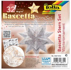 folia Faltblätter Bascetta-Stern 150 x 150 mm 90 g/qm 32 Blatt weiß bedruckt